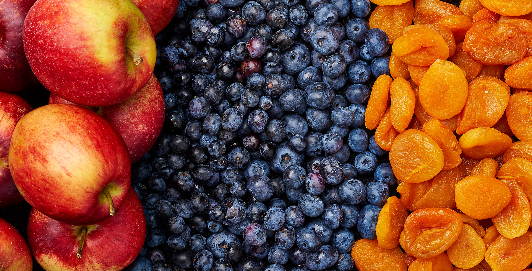 Apples, blueberries and apricot