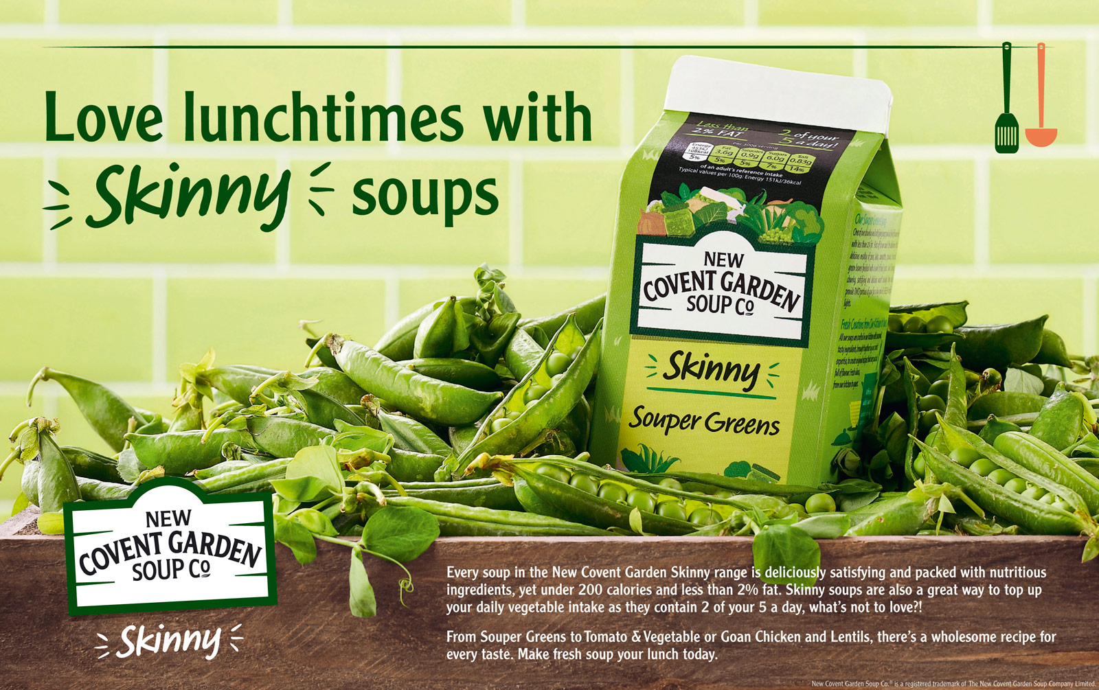 New Covent Garden Soup Co advert for skinny soups