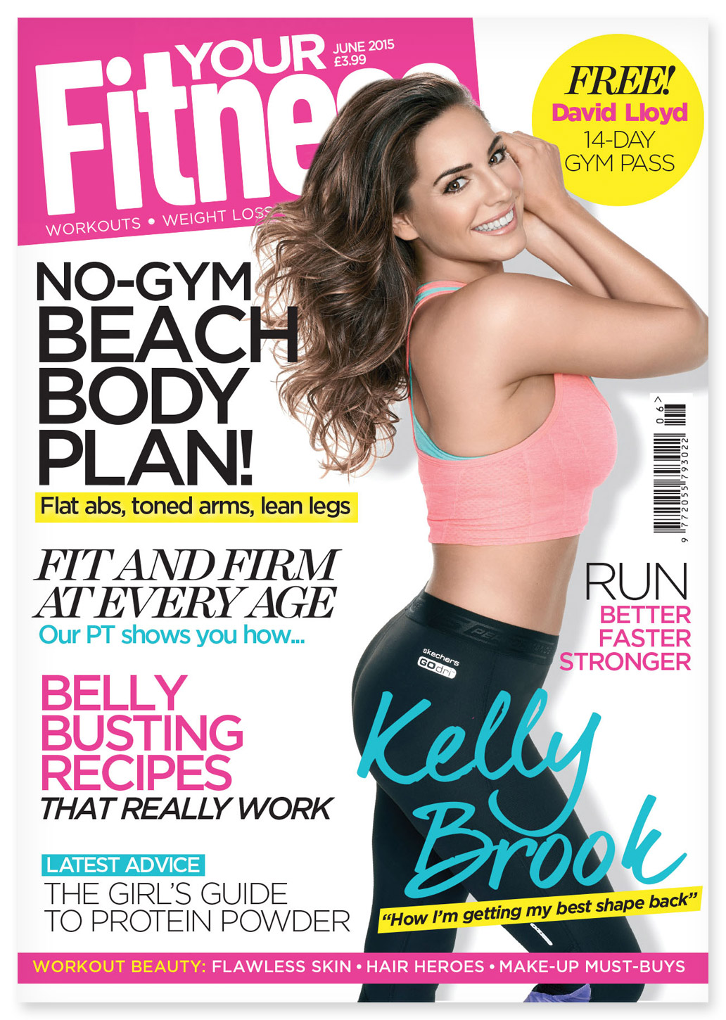 Cover of Your Fitness featuring Kelly Brook, photographed by CliQQ Photography