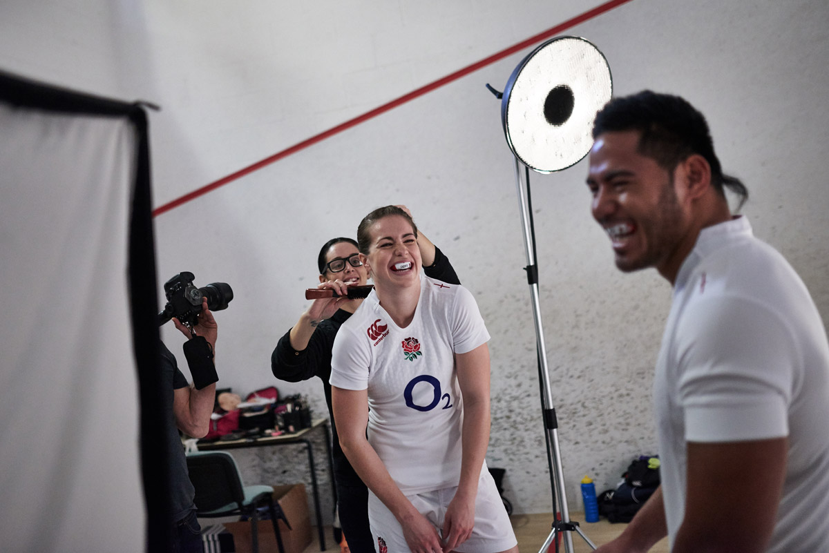 On set with Manu Tuilagi and Emily Scarratt being photographed by CliQQ Photography