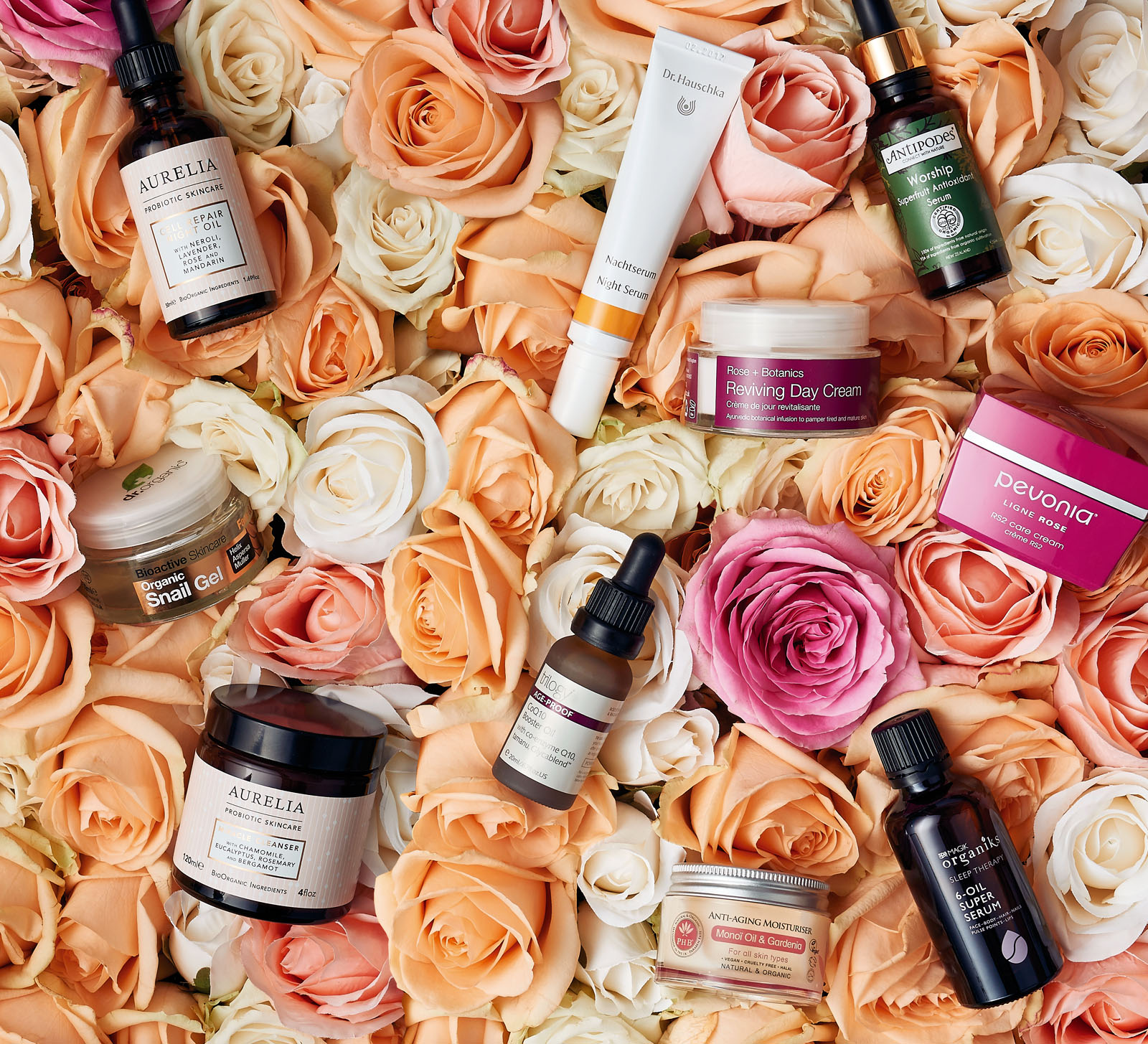 Beauty products on a bed of roses