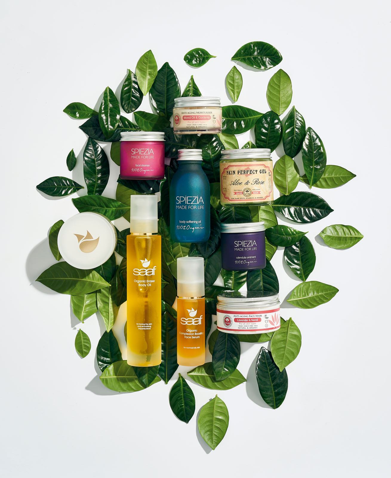 Beauty products on leaves 2