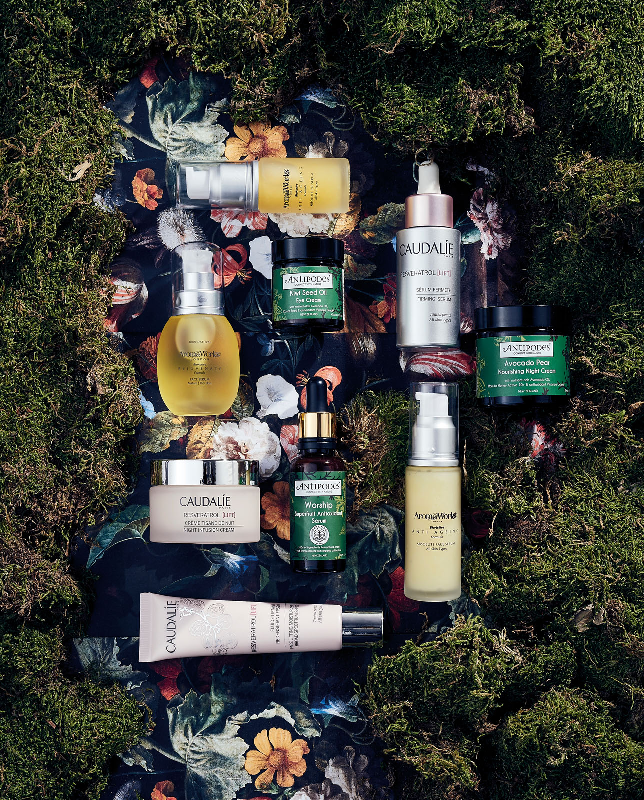 Beauty products on a moss background