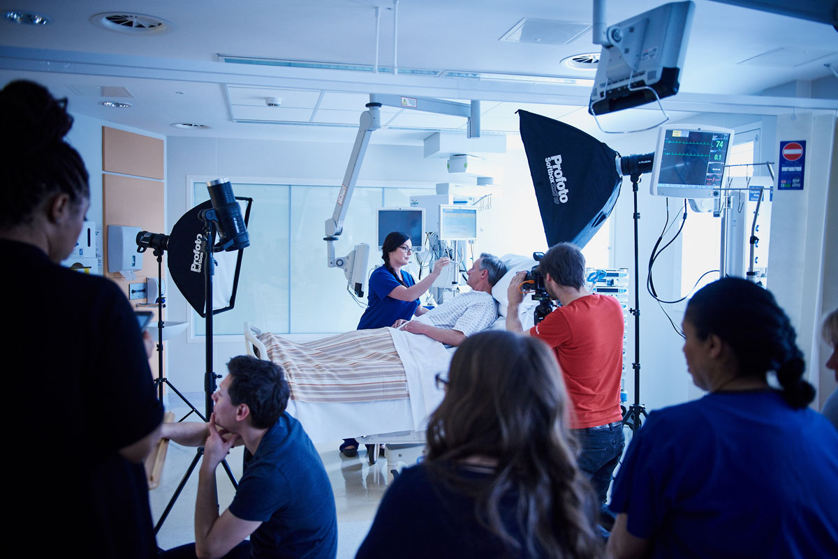 Behind the scenes on a healthcare photoshoot
