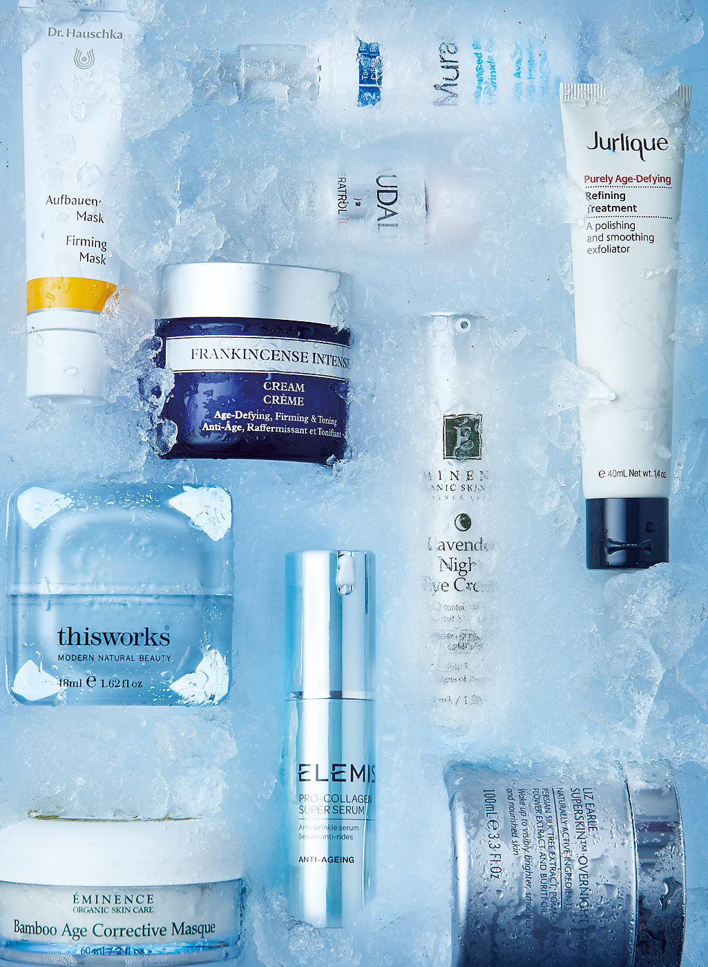 Age defying beauty products in ice