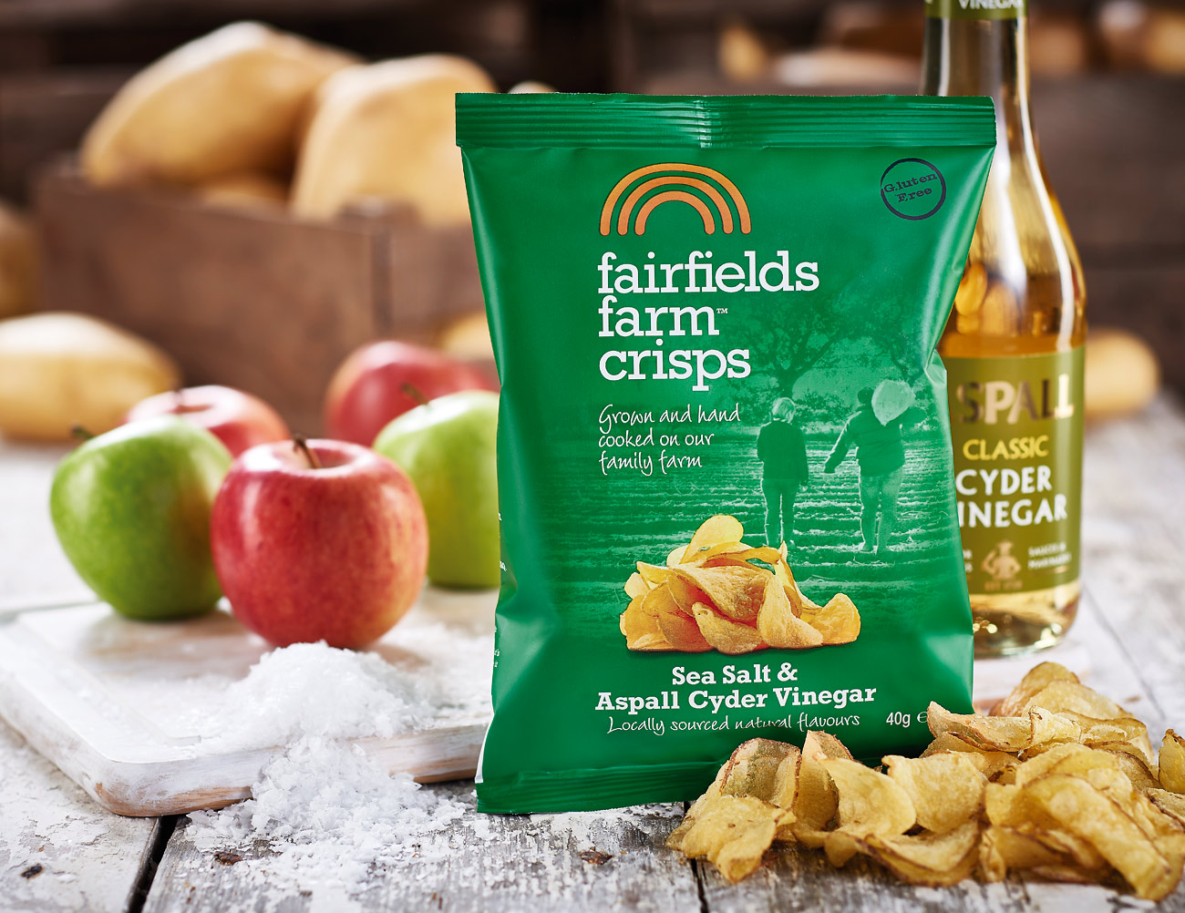 Fairfields Farm Crisps food product photoshoot