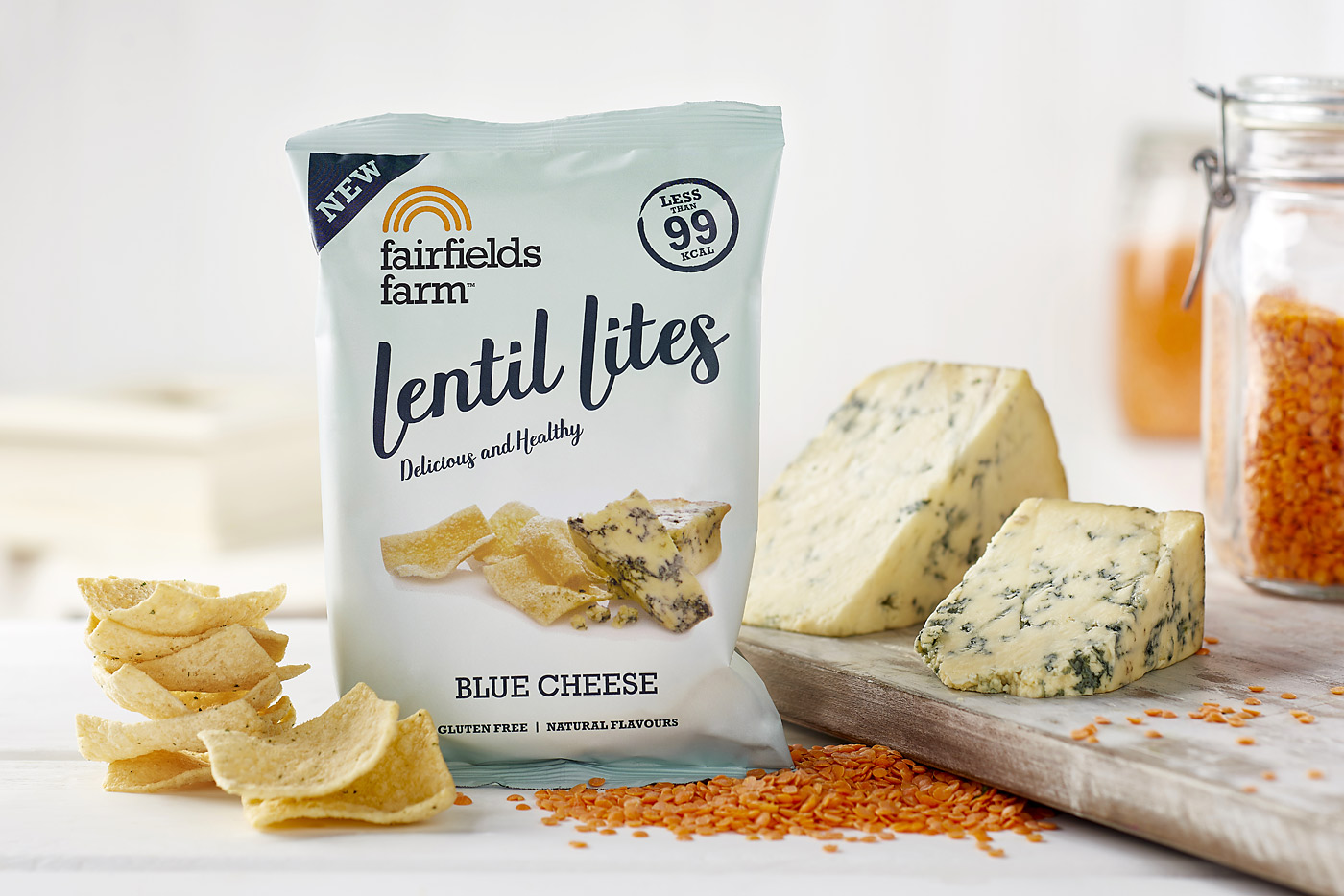 Fairfields Lentil Lites, blue cheese flavour. Packshot by CliQQ Photography.