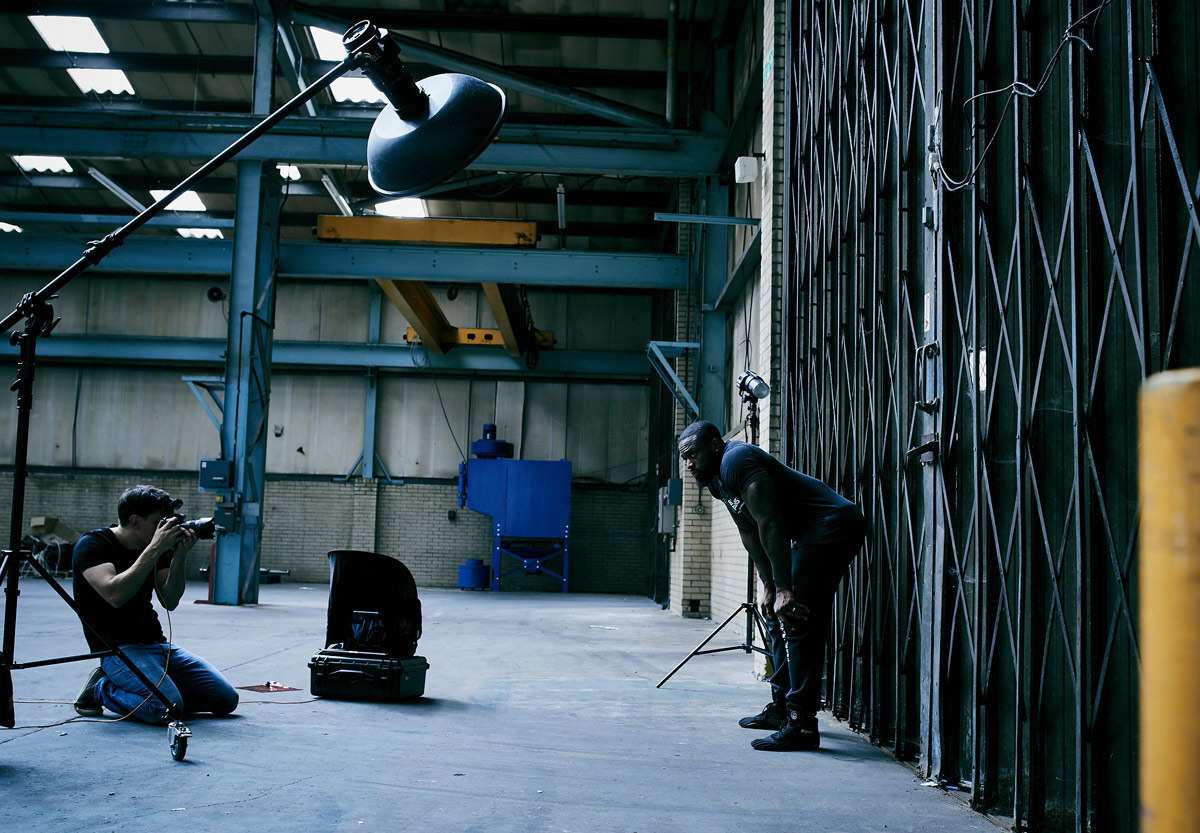 Behind the scenes on a warehouse fitness shoot
