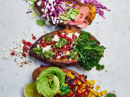 Loaded sweet potato trio