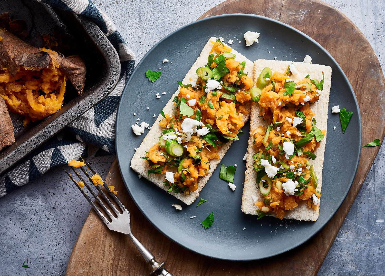 Sweet Potato & Spring Onion Smash with Feta & Coriander