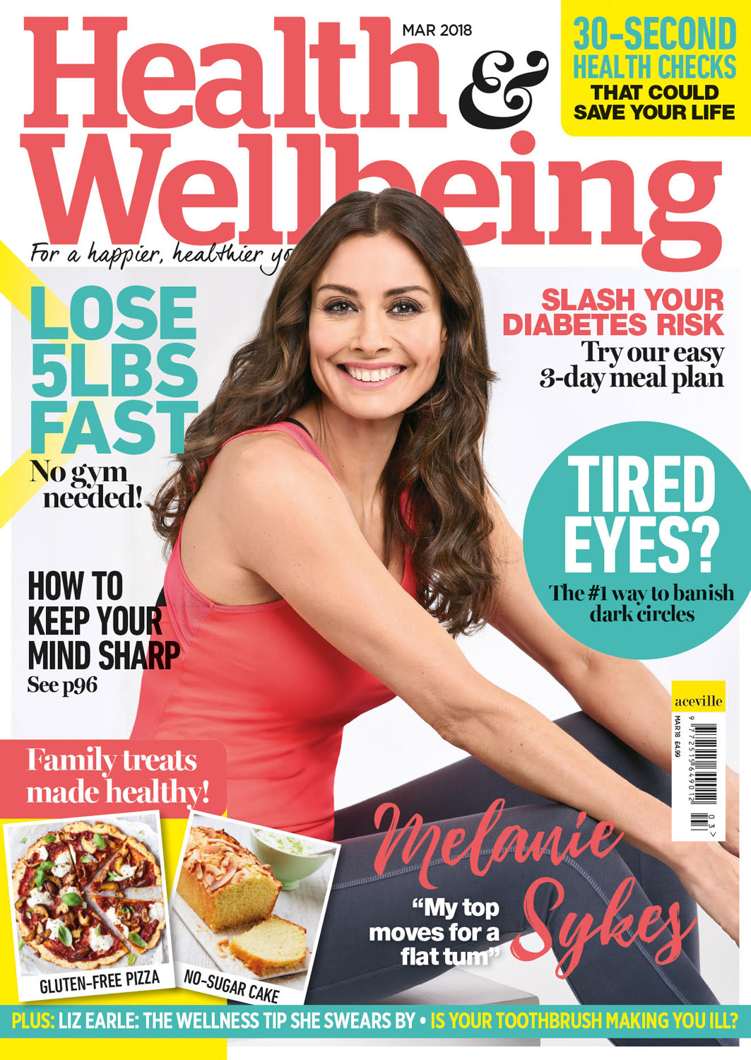 Melanie Sykes shoot for Health and Wellbeing Magazine January 2018