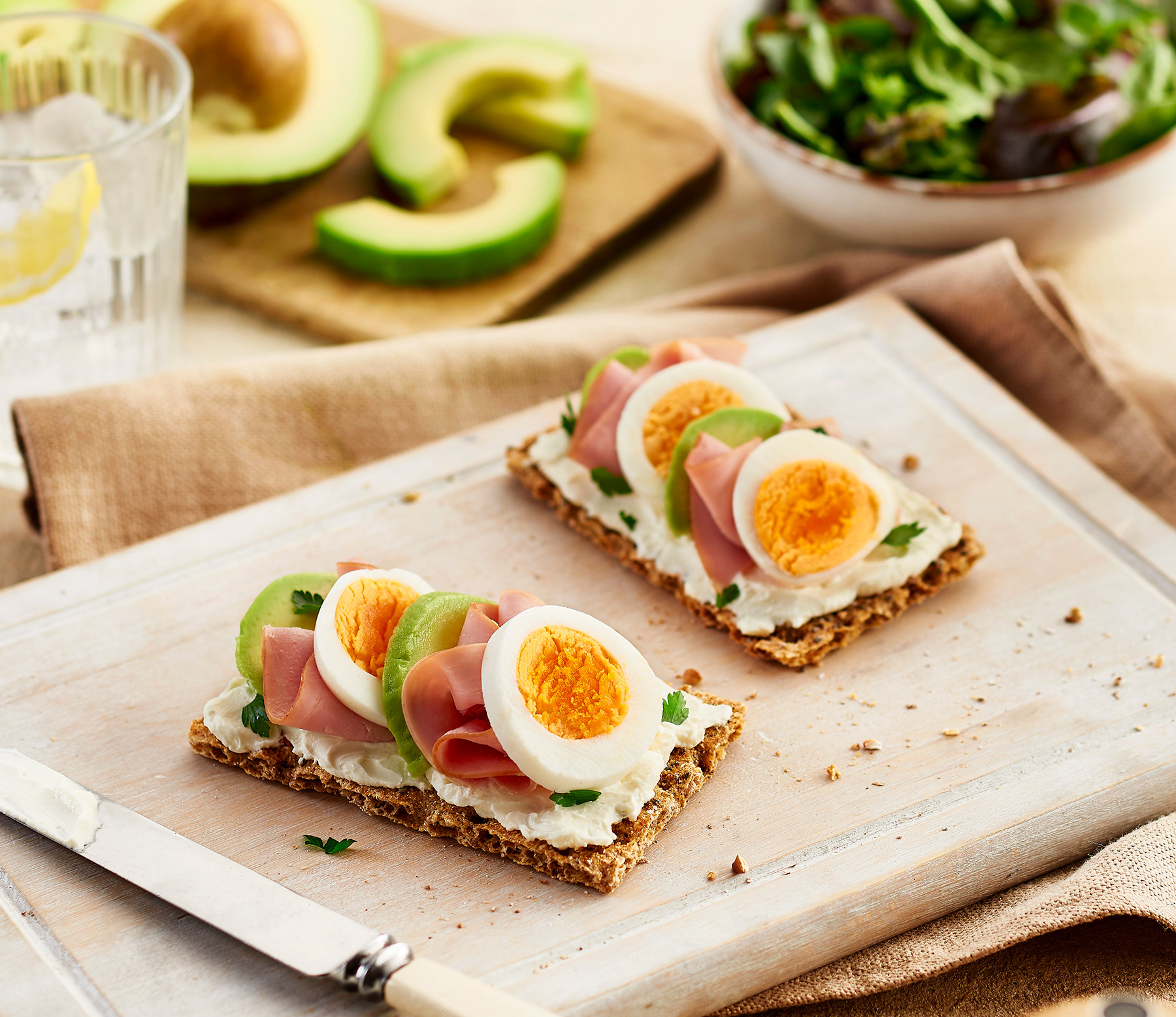 Philadelphia, ham and avocado on Ryvita
