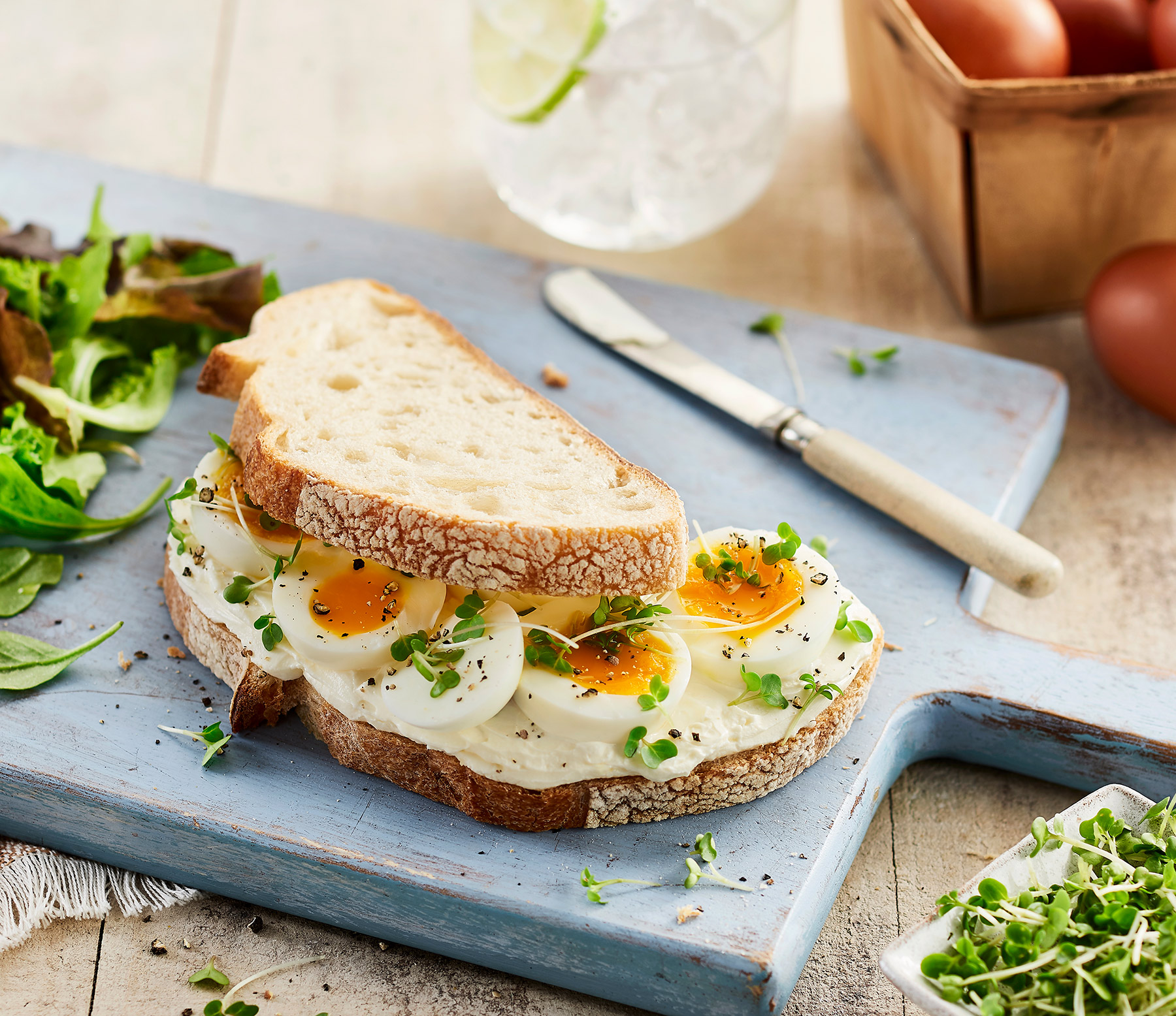 Philadelphia, egg and cress sourdough sandwich