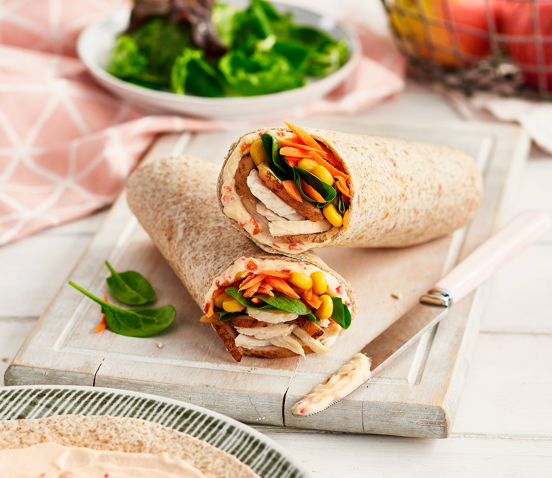 Chicken and sweet chilli Philadelphia wrap