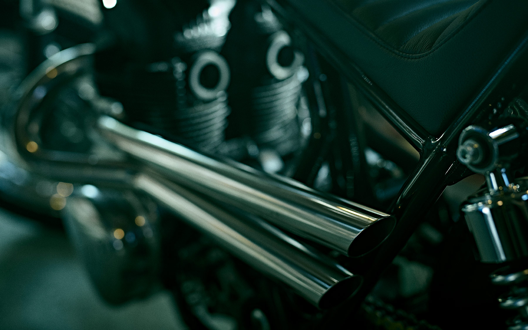 Close up of a custom exhaust for a motorbike
