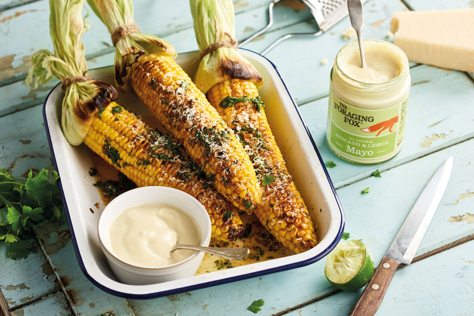 Charred sweetcorn with mayo