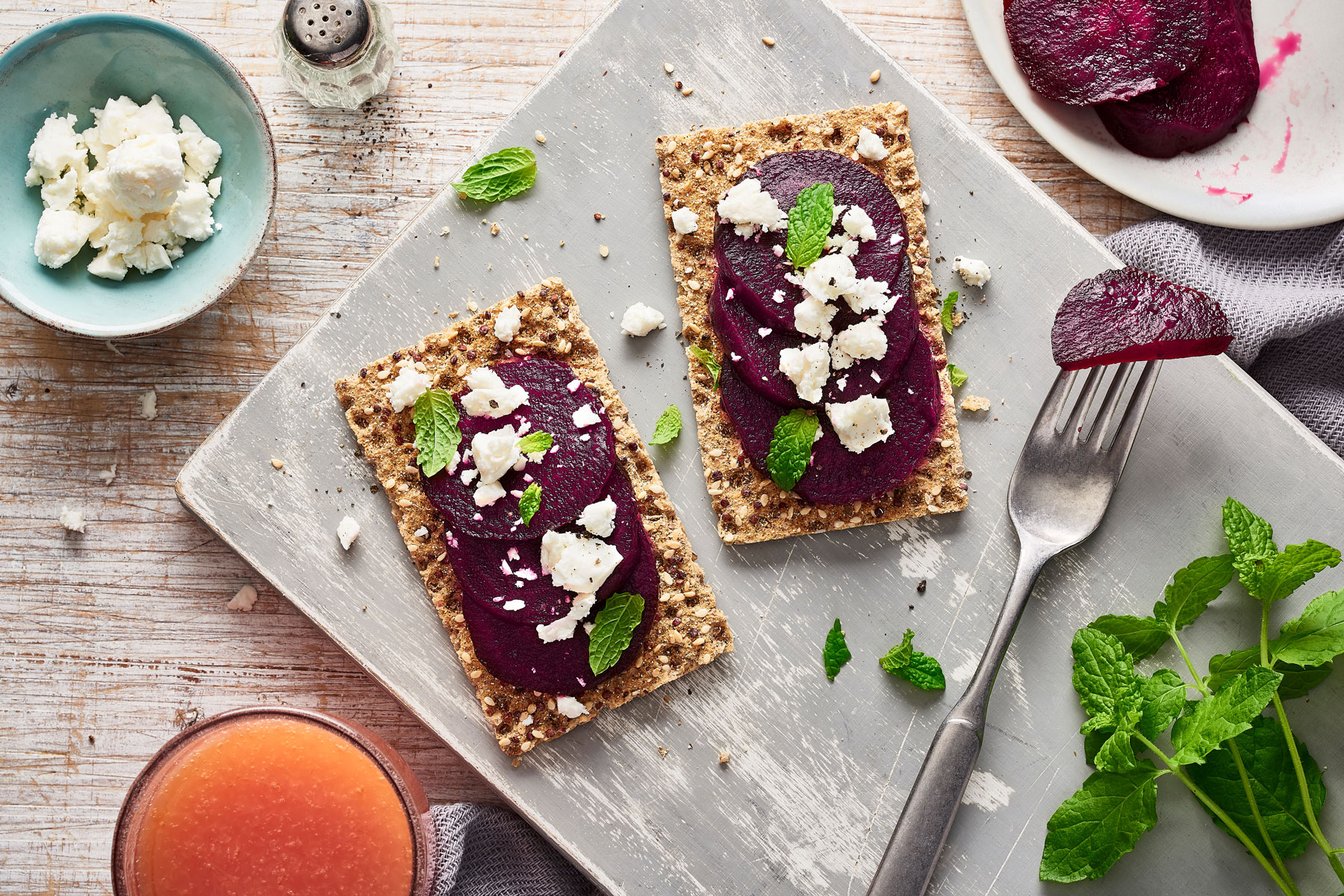 Ryvita with beetroot, feta and mint