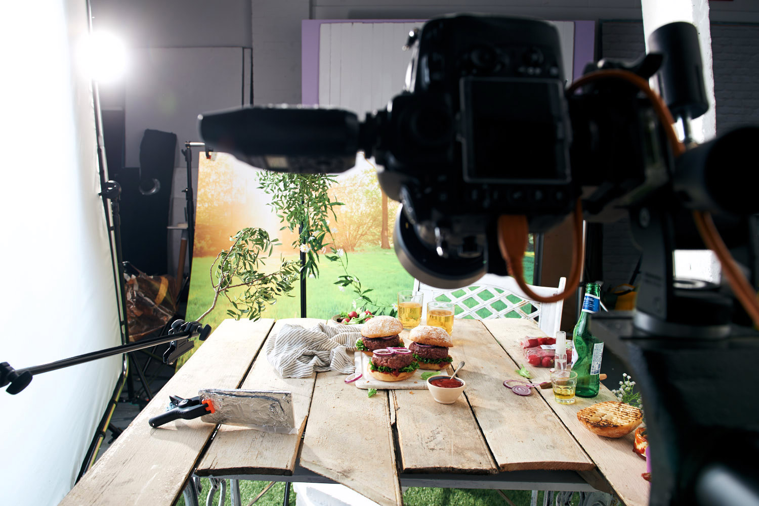 Behind the scenes on an indoor BBQ shoot