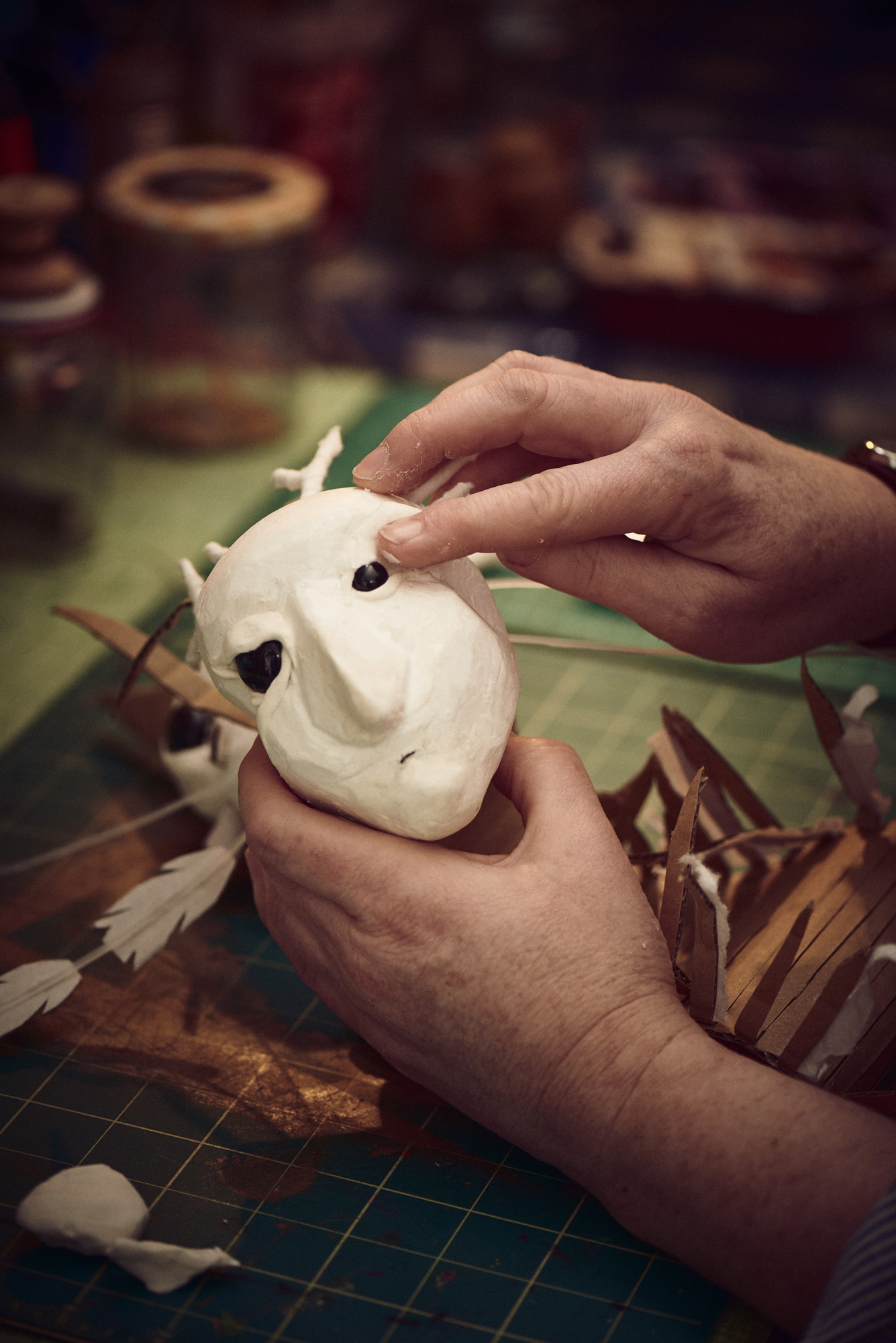 Close of a puppet being created