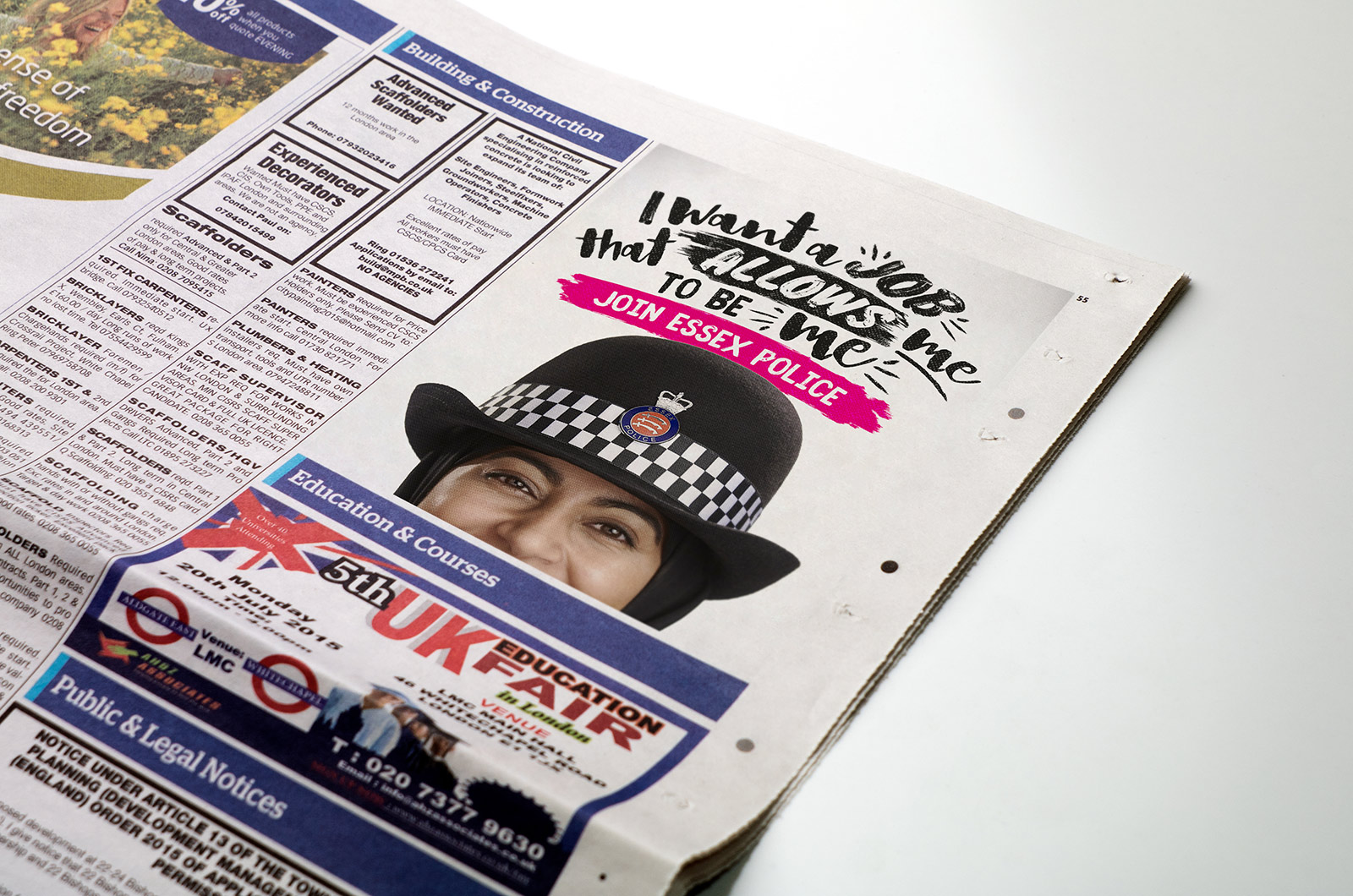 Essex Police recruitment advert in the newspaper