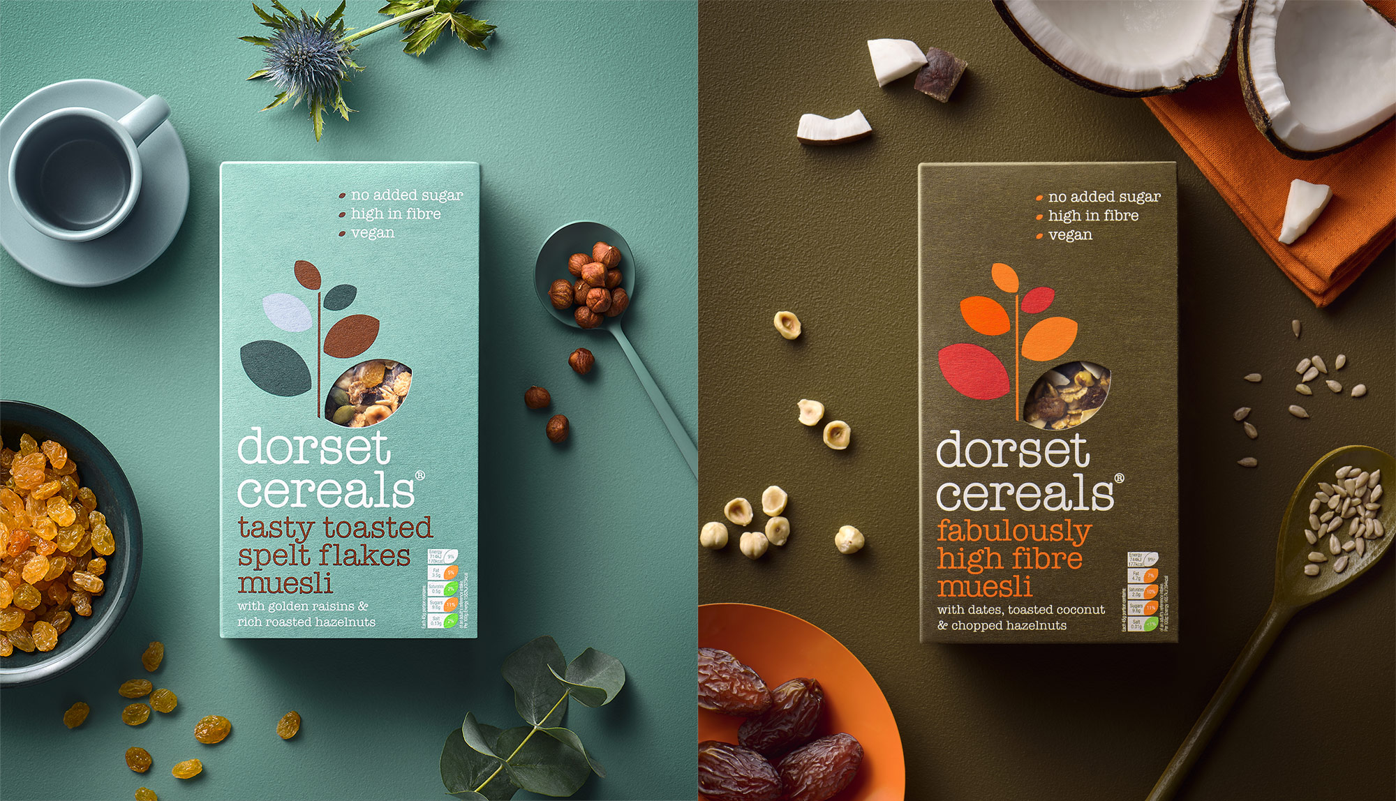 Dorset Cereals toasted spelt flakes and high fibre muesli