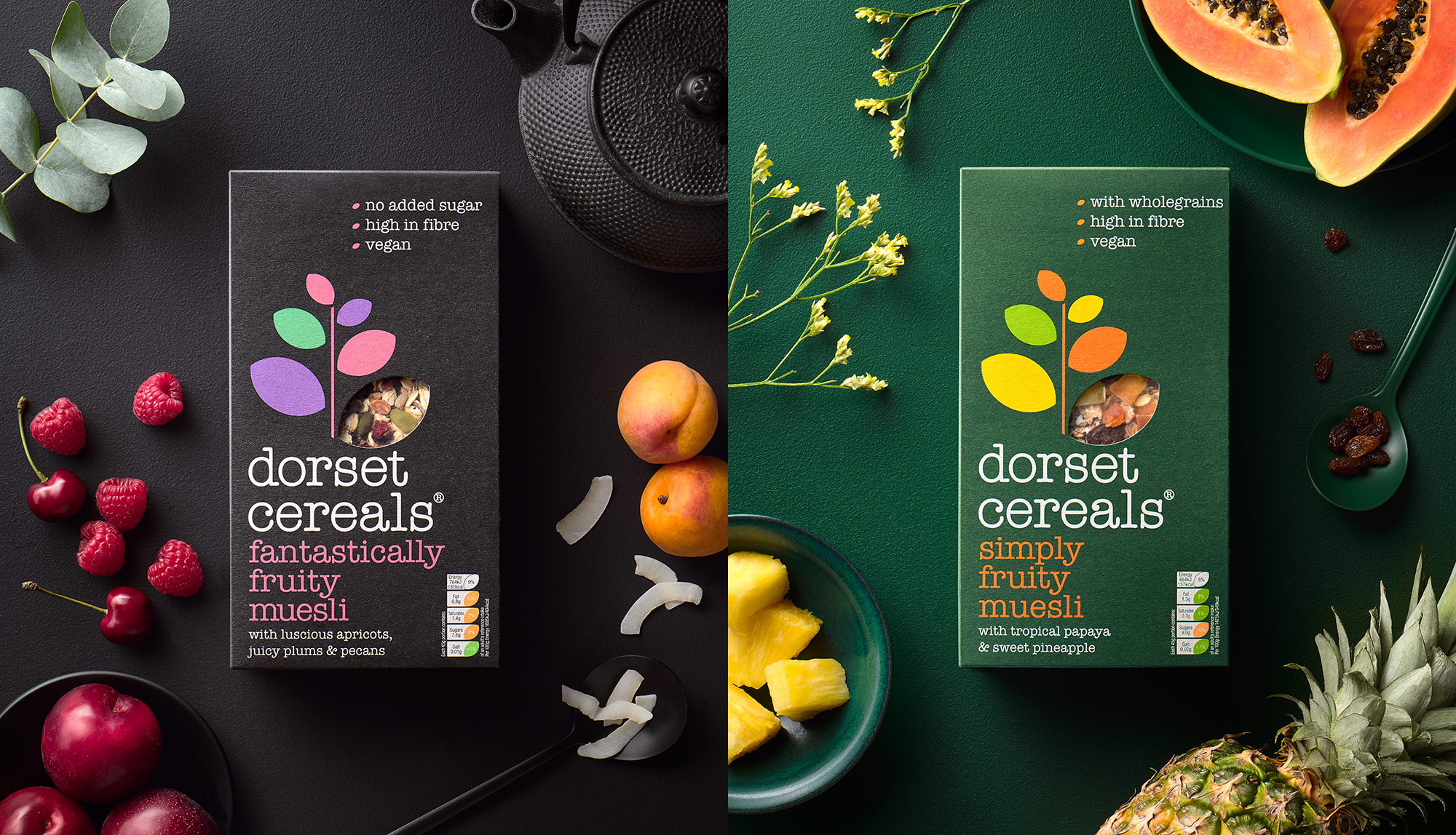 Dorset Cereals fantastically fruity and simply fruity muesli pack photography