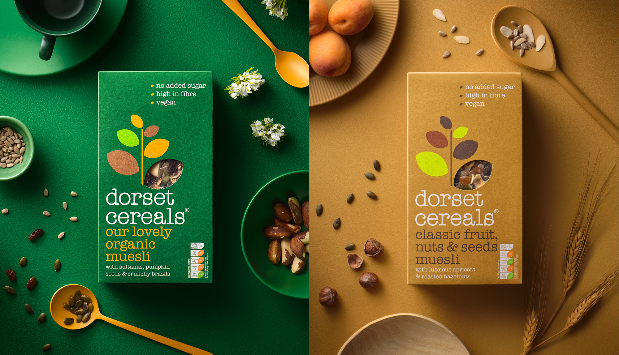 Dorset Cereals organic muesli and classic fruit nuts and seeds muesli