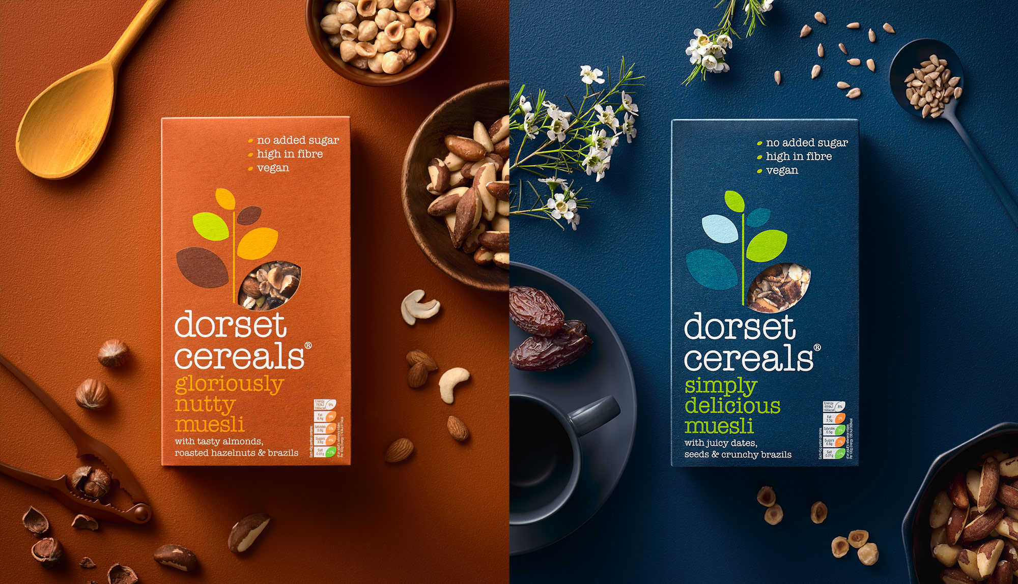Dorset Cereals gloriously nutty muesli and simply delicious muesli pack photography