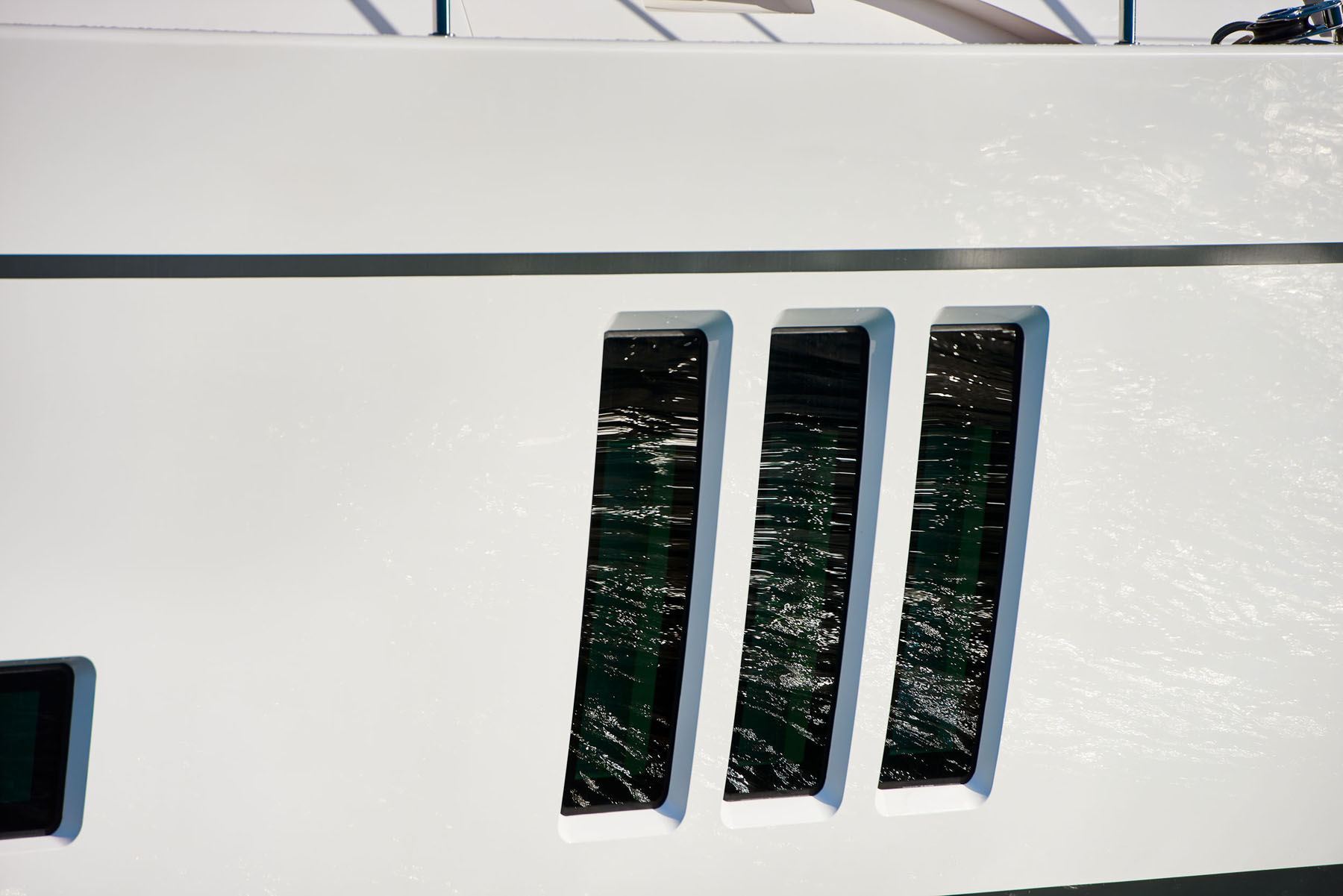 WIndow detail on the S/Y Archelon