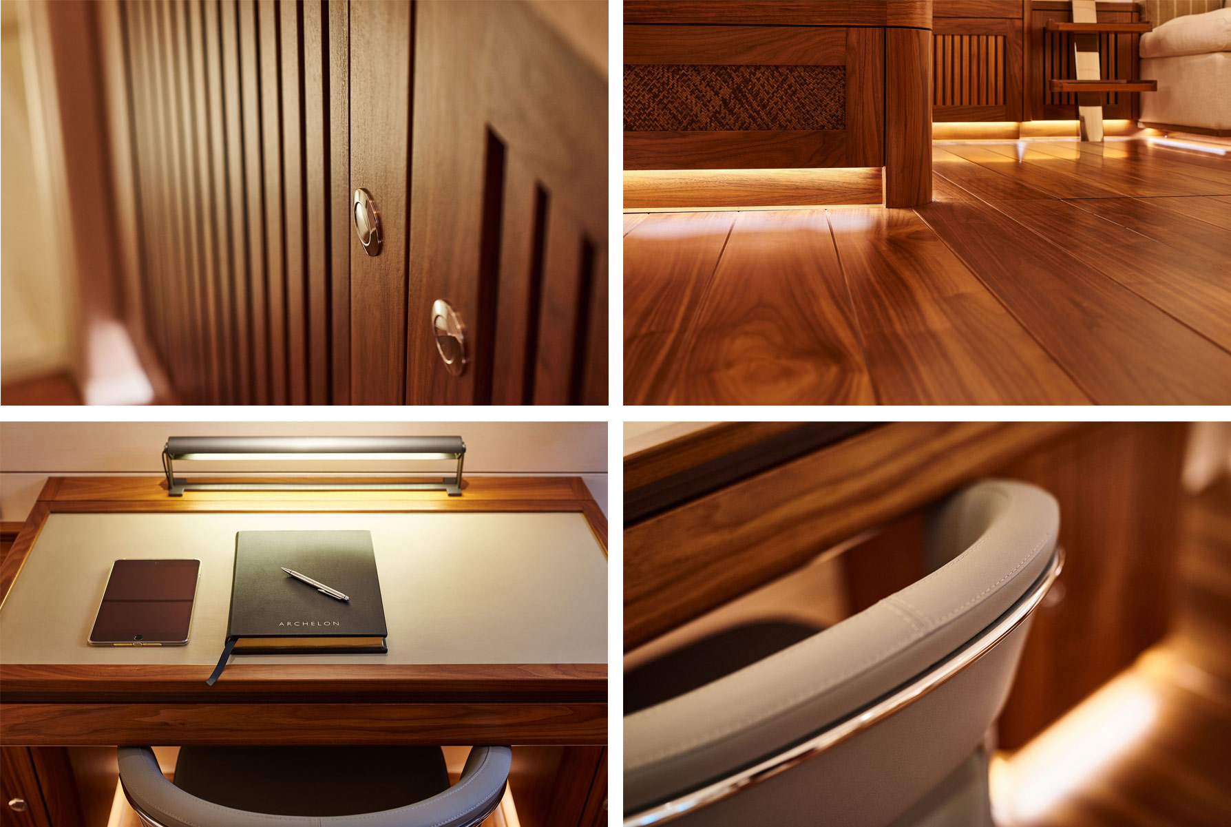 Close up details of the interior of S/Y Archelon