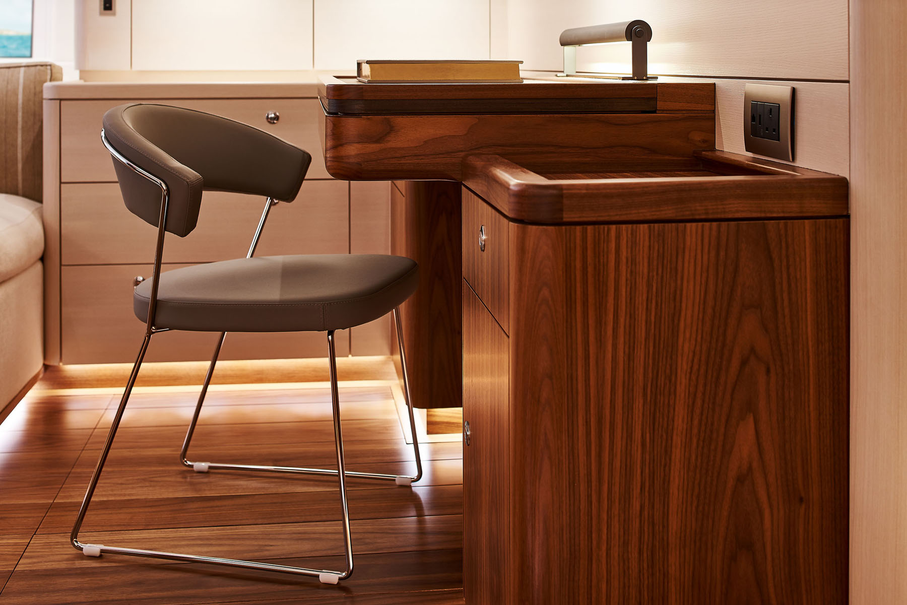 Desk unit in the master bedroom onboard the S/Y Archelon