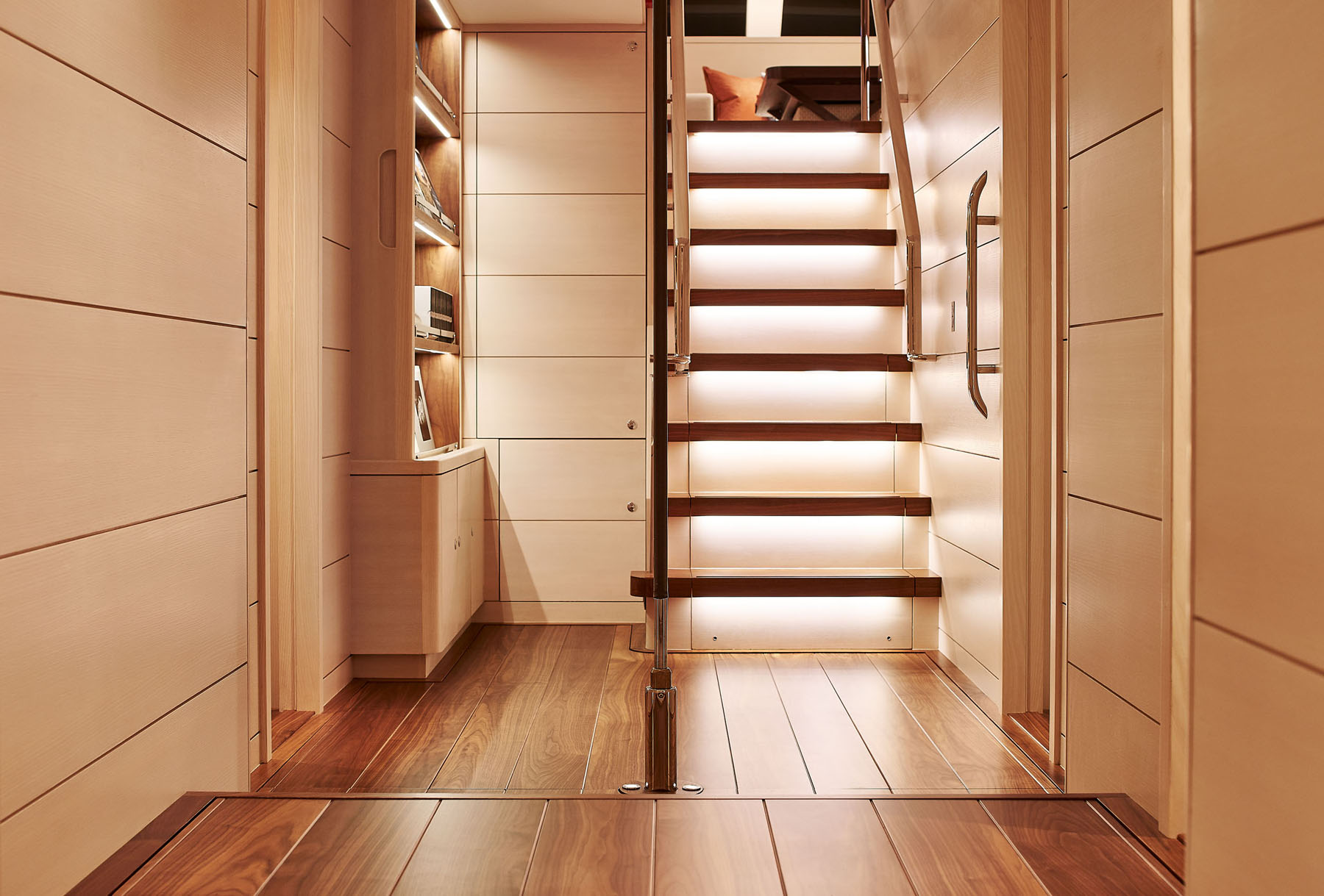 Hallway and under-stair lighting onboard the S/Y Archelon