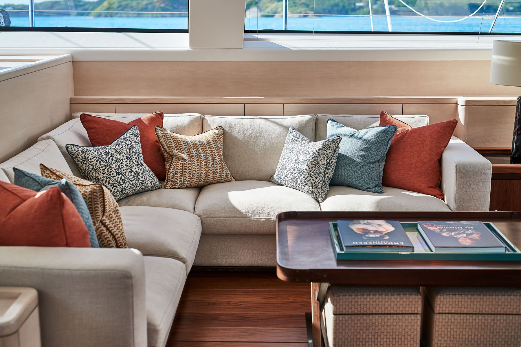 Sofas in the salon onboard the S/Y Archelon