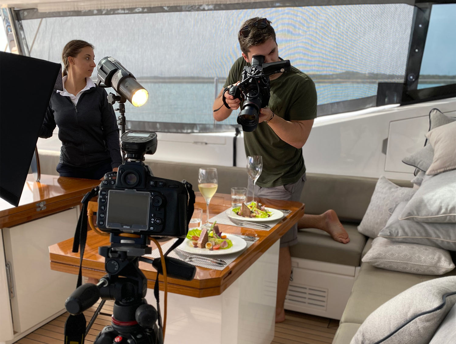 Behind the scenes photographing food on a super yacht