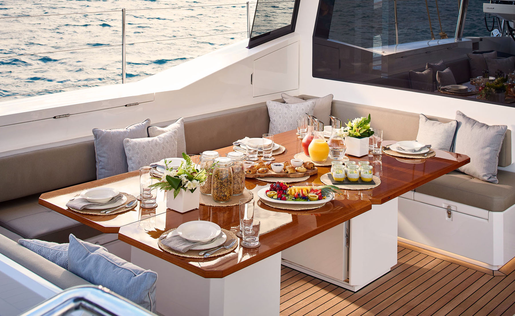 Breakfast setup on the S/Y Archelon