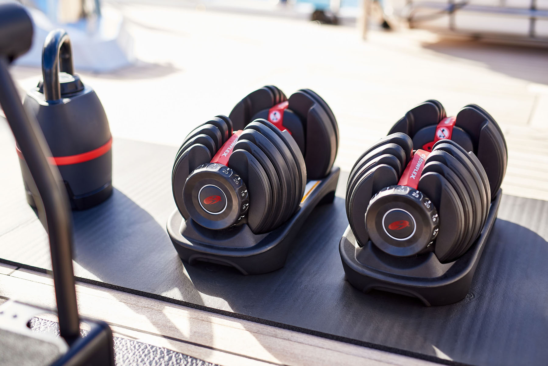 Dumbells on the deck of a yacht