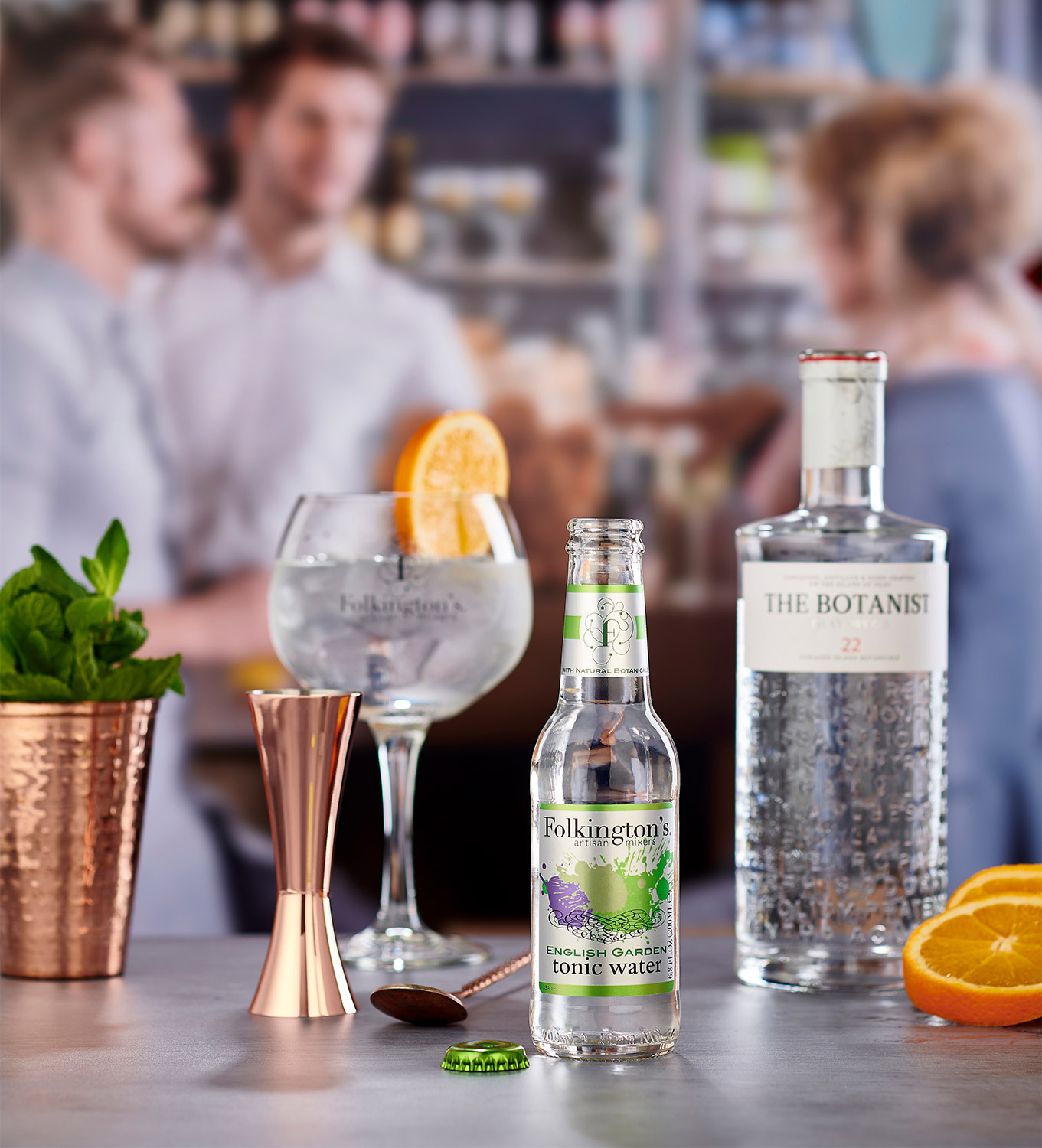 Folkingtons English Garden Tonic water photographed in a bar setting